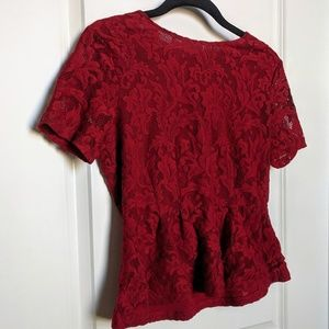 Ann Taylor Factory Red Peplum Lace Top NWOT
